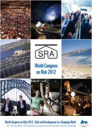 World Congress on Risk 2012 - Society for Risk Analysis Europe ...