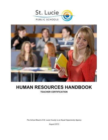 Certification Handbook - St. Lucie County School Board