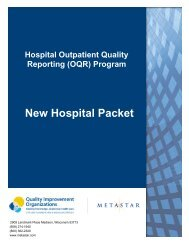 HORP New Hospital Packet rev. 05-2013 - MetaStar