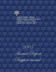 2005 Annual Report Rapport annuel - Jewish Public Library