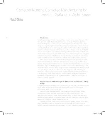 Computer Numeric Controlled Manufacturing for Freeform Surfaces ...