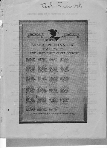 Baker Perkins News WW2 Armed Forces Roll of Honour