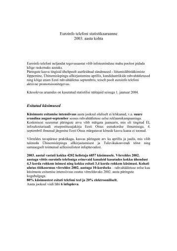 2003. aasta - Euroopa Liidu Infokeskus
