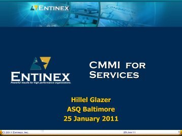 Jan 25, 2011 – CMMI for Services - ASQ Baltimore 0502