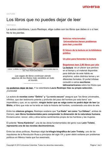 Los libros que no puedes dejar de leer - Noticias - Universia