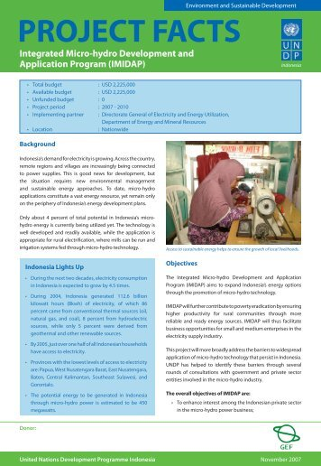 PROJECT FACTS - UNDP
