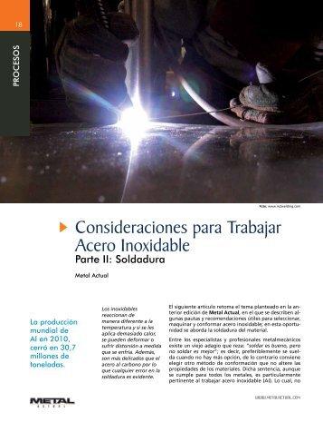 Consideraciones para Trabajar Acero Inoxidable - Revista Metal ...