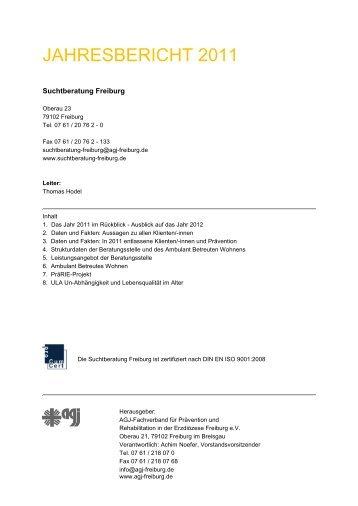 Jahresbericht 2011 (PDF) - Suchtberatung Freiburg