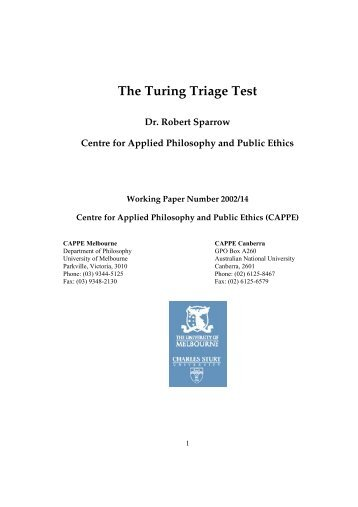 The Turing Triage Test - CAPPE. Centre For Applied Philosophy and ...