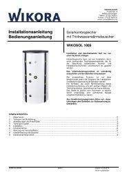 Hygienespeicher Wikosol ohne WT - Wikora GmbH