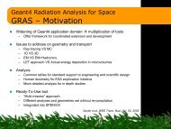 GRAS Geant4 Radiation Analysis for Space - SPENVIS