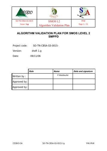 SMOS L2 Algorithm Validation Plan ALGORITHM ... - Cesbio