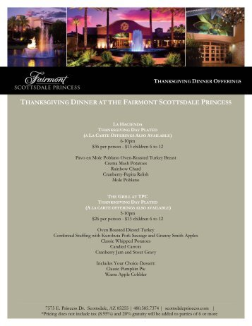 thanksgiving dinner at the fairmont scottsdale princess