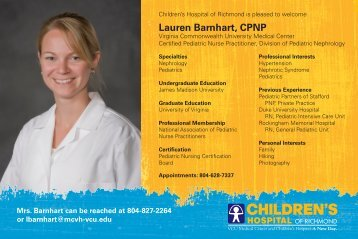 Lauren Barnhart, CPNP - Virginia Commonwealth University Health ...