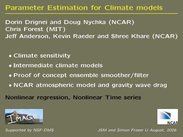 Parameter Estimation for Climate models - IMAGe