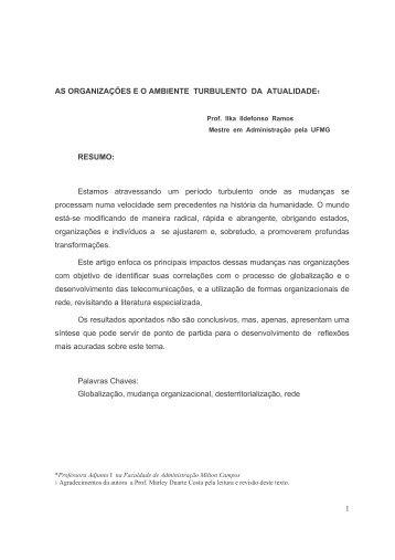 As organizações e o ambiente turbulento da ... - Milton Campos