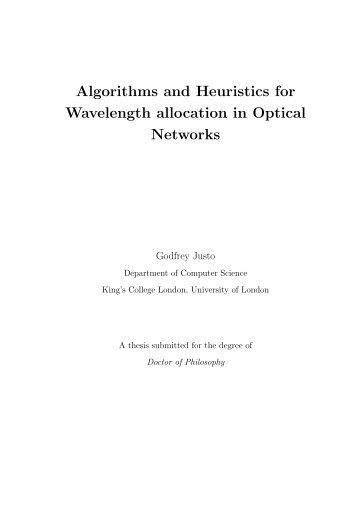 Algorithms and Heuristics for Wavelength allocation in Optical ...
