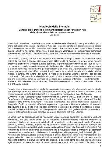 I cataloghi della Biennale.