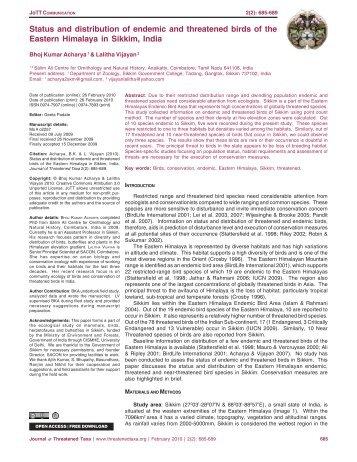 o2257 Acharya birds - Journal of Threatened Taxa
