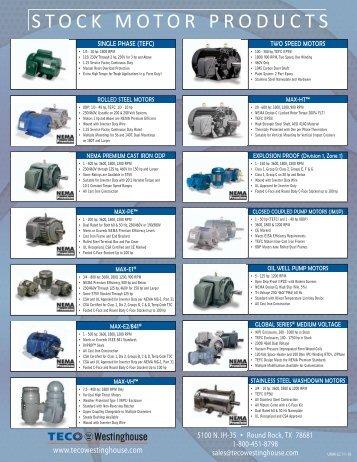 Max e2 841 brochure printer friendly teco for Teco westinghouse motor catalog