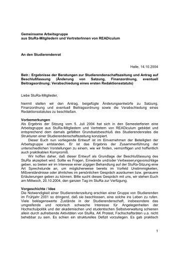 Entwurf zur Konstitution einer Studierendenschaftszeitschrift
