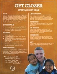 International Volunteer Program Fact Sheet - Friends of the Orphans