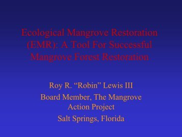 Ecological Mangrove Restoration - Restore America's Estuaries