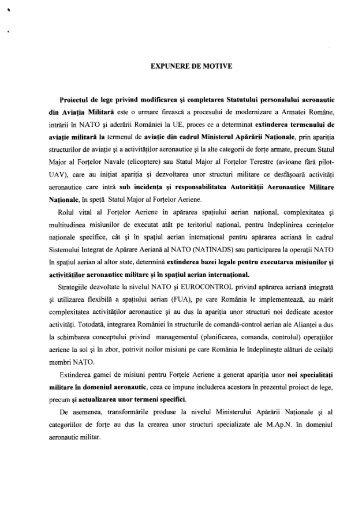 EXPUNERE DE MOTIVE Proiectul de lege privind modificarea şi ...