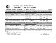 Orario delle lezioni I SEMESTRE Anno Accademico 2012/2013