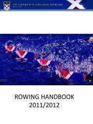 Rowing Parents Handbook 2011 - 2012 - St Andrew's College