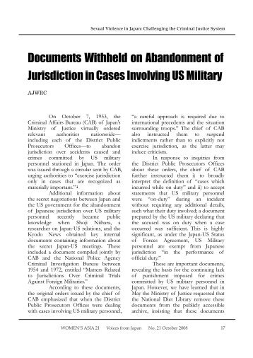 Documents Withheld on Abandonment of Jurisdiction in Cases ...