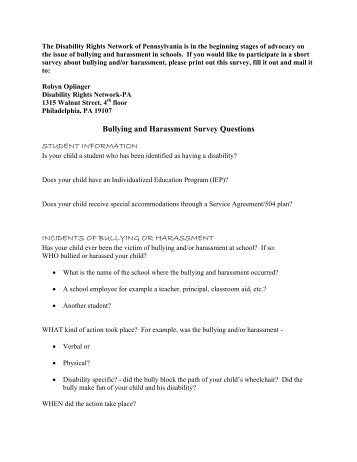 Bullying and Harassment Survey Questions - Disability Rights ...