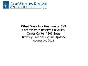 resume or a CV format