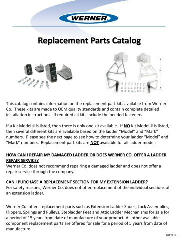 Replacement Parts Catalog - National Ladder and Scaffold Co.