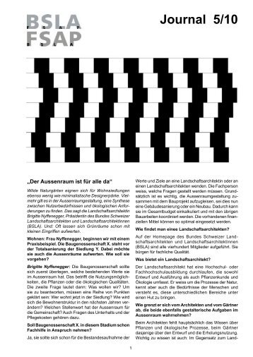 Journal 5/10 - BSLA