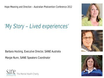 'My Story – Lived experiences' - Hope for Life