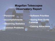 Magellan Telescopes Observatory Report - MagellanTech