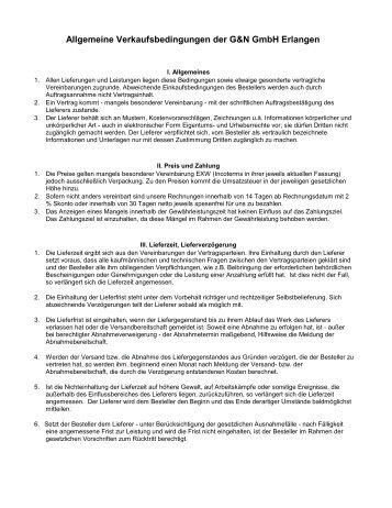 Allgemeine Verkaufsbedingungen der G&N GmbH ... - grinders.de
