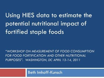 Using HIES data to estimate the potential nutritional impact of ...