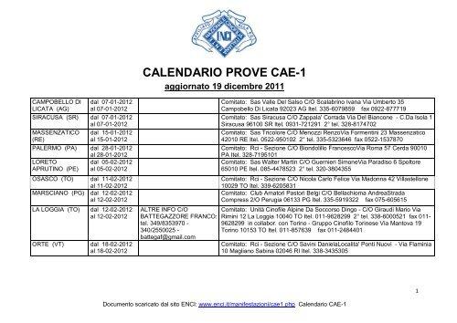 Enci Calendario Prove.Calendario Prove Cae 1 Enci