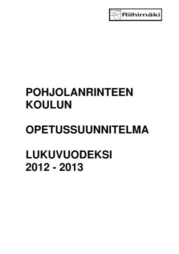 opetussuunnitelma lukuvuodeksi 2012