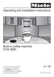 Instruction manual - Miele