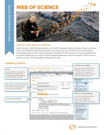 Web of Science Quick Reference Guide - German - Thomson Reuters