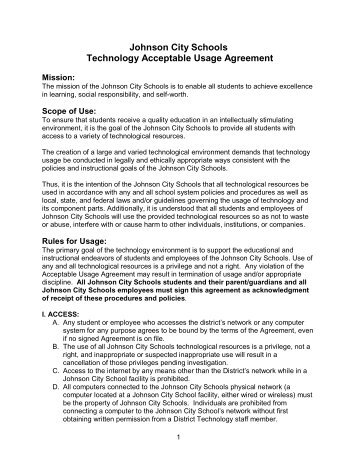 Johnson City Schools Technology Acceptable Usage Agreement