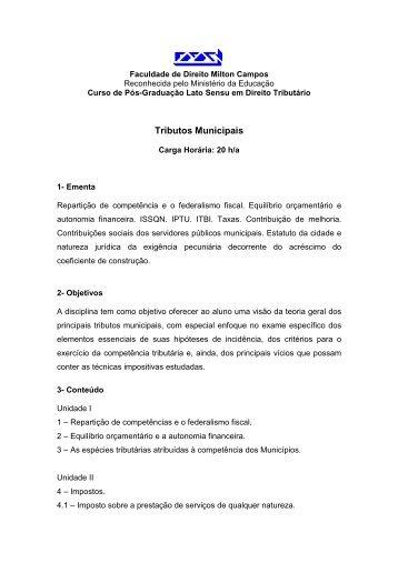 Tributos Municipais - Milton Campos