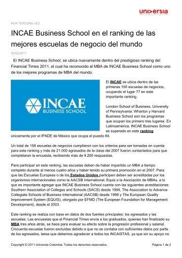 MBA de INCAE - Noticias - Universia