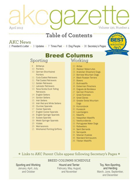 Table Of Contents Parent Directory American Kennel Club
