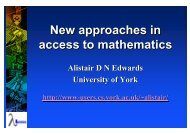New approaches in access to mathematics New approaches in ...