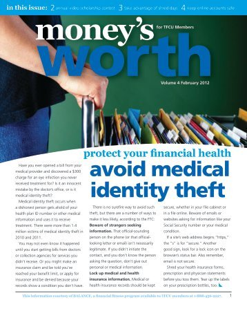 avoid medical identity theft - Tinker Federal Credit Union