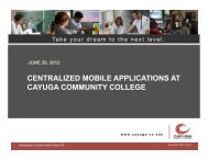 centralized mobile applications at cayuga community college